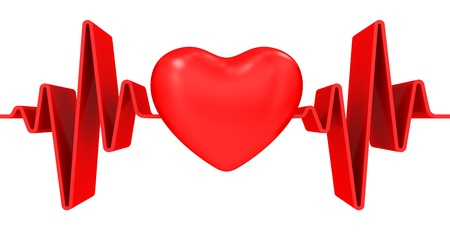 arrhythmias: Red heart and cardiogram on white background Stock Photo