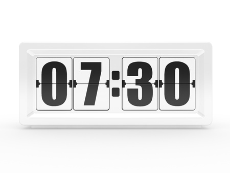 A flip clock on a white background Stock Photo - 9731642