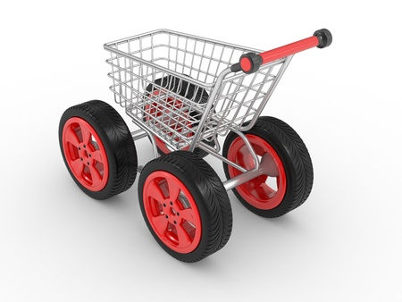 supermarket trolley: 3d shopping cart with big car wheel isolated on white Stock Photo