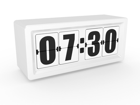 A flip clock on a white background photo