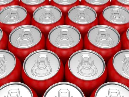 Much of aluminium red beer cans close up photo