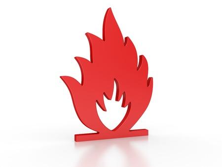 brennbaren Warnung 3d Zeichen auf einem weißen Standard-Bild