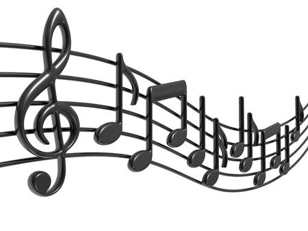 Notas de música 3D en pentagramas en blanco Foto de archivo - 9732495