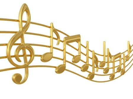 simbolos musicales: Notas de m�sica 3D en pentagramas en blanco Foto de archivo