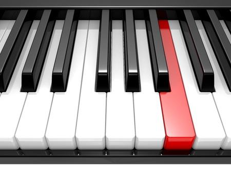 3D abbildung des schwarzen & weißen Tasten eines Klaviers hautnah