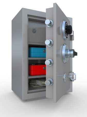 3d illustration of opened steel bank safe with money and documents Stock Illustration - 9732591