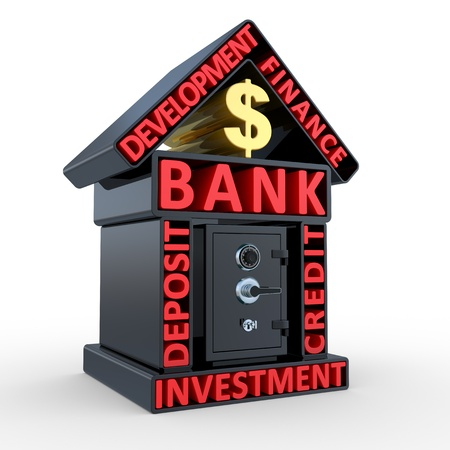 safe investments: Edificio della banca e il disegno astratto, sicuro su sfondo bianco Archivio Fotografico