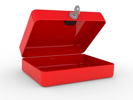 opened red metal box with key and lock on a white background Stock Photo - 9827079