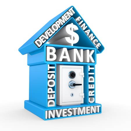 Building of bank and the safe, abstract design on a white background Stock Photo