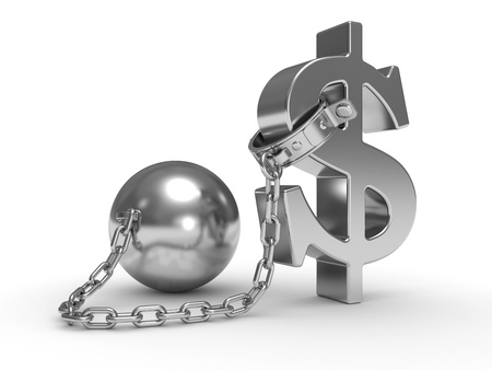 ball and chain: shackle dollar symbol on a white background