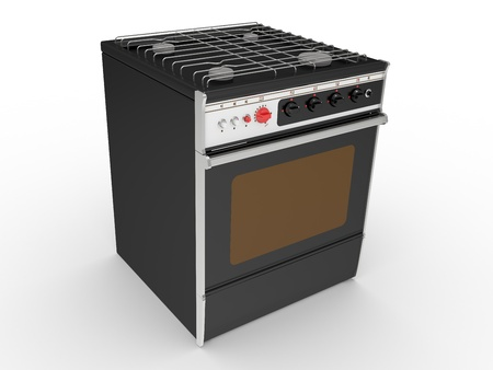 black gas cooker on a white background photo