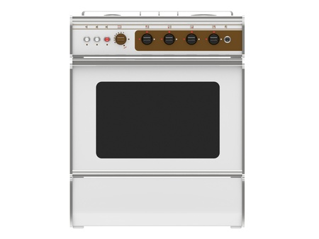 old gas stove: white gas cooker on a white background Stock Photo