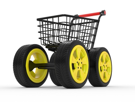 3d shopping cart with big car wheel isolated on white Stock Photo - 9954765