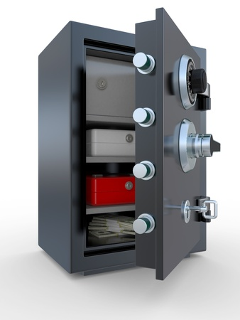 3d illustration of opened steel bank safe with money and documents Stock Illustration - 9954772