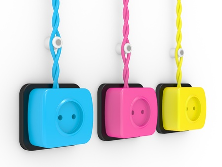 Electric sockets of different colours, cyan, magenta, yellow photo