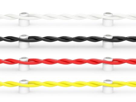 cable el�ctrico de cer�micos aislantes sobre fondo blanco. Modelo 3d aislado Foto de archivo - 10133398