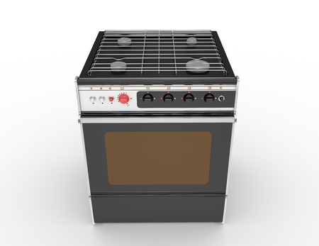 grates: black gas cooker on a white background Stock Photo