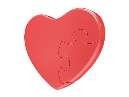 haciendo el amor: Puzzle de corazón. Aislado en fondo blanco