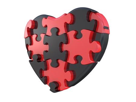 haciendo el amor: Corazón del rompecabezas. Aisladas sobre fondo blanco
