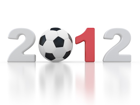 soccerball: 2012 sign and soccer-ball on a white background