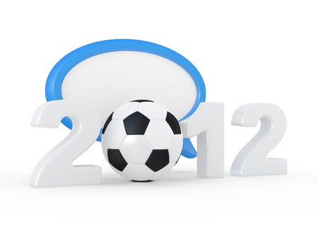 2012 sign and soccer-ball on a white background photo