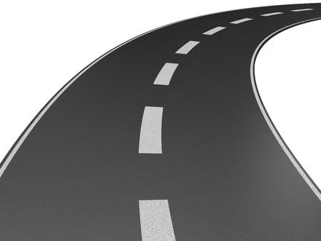 Beispiel für eine lange, kurvenreiche Straße, die in der Ferne verschwindet.