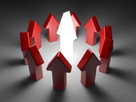 financial leadership: concepto de liderazgo sobre fondo blanco. flechas sobre un fondo blanco