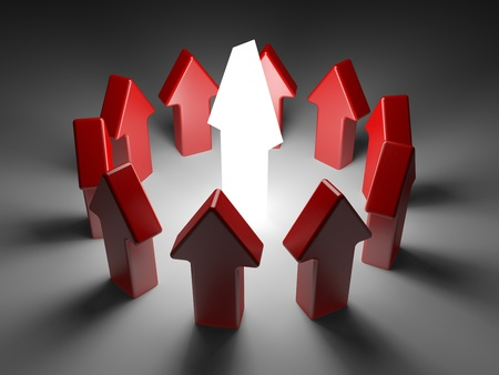 leiderschap concept op een witte achtergrond. pijlen op een witte achtergrond Stockfoto