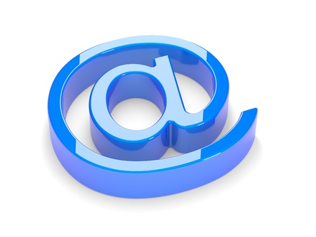 internet symbol: 3d mail sign on a white background