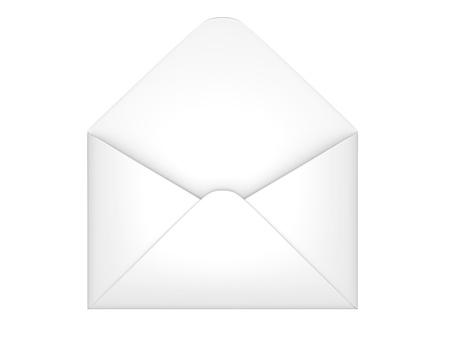 e mailing: Open envelope 3d illustration on a white background
