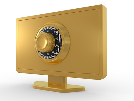 LCD monitor, lock and key on white background. 3D image Stock Photo - 10481720