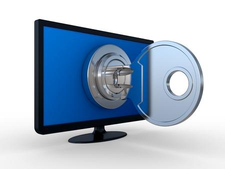 LCD-Monitor, Schloss und Schlüssel auf weißem Hintergrund. 3D-Bild