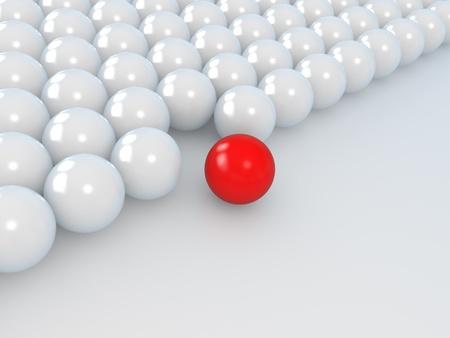 follow the leader: leiderschap concept, witte en rode ballen, 3d illustratie op een wit