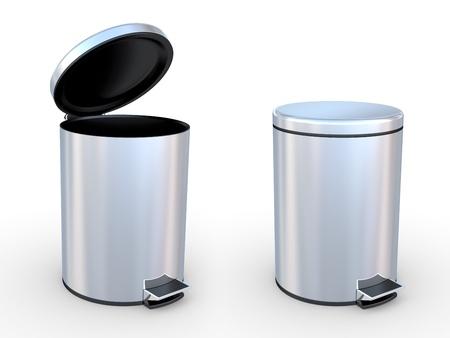 cesto basura: Bin de basuras moderna sobre un fondo blanco Foto de archivo
