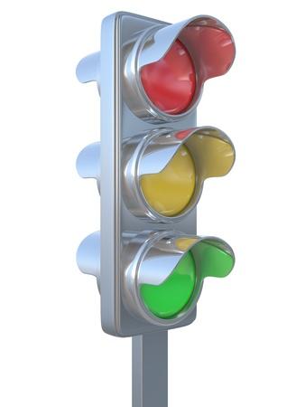 se�ales trafico: el sem�foro sobre un fondo blanco