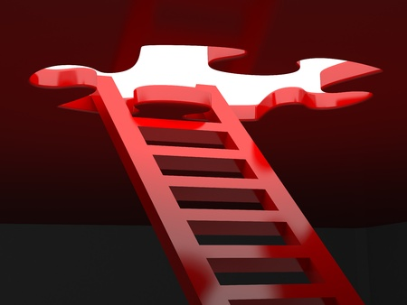 different directions: Ladder to success to a window in the form of a puzzle Stock Photo