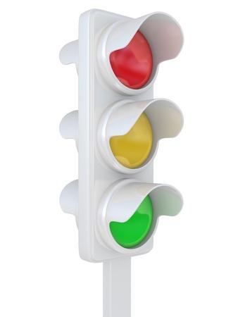 Die Ampel auf weißem Hintergrund Standard-Bild