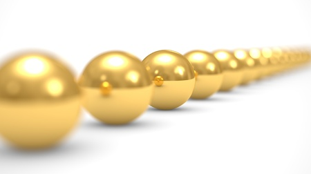 different concept: leadership concept, gold balls, 3d illustration on a white