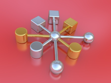 unit: 3D an illustration of abstract communications, the teamwork concept Stock Photo