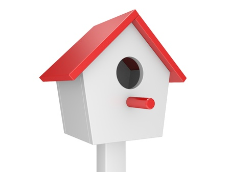 bird house: starling-house 3d illustration isolated on a white background