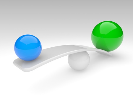 heavy risk: two spheres in balance. 3d rendered illustration