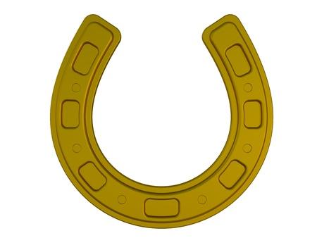 bronze horseshoe - isolated on a white 3d render illustration illustration