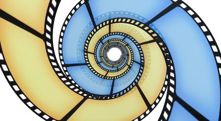 movie film reel: 3D tira de la pel�cula sobre un fondo blanco