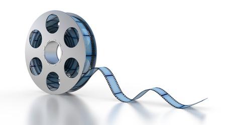 Roll film: Tira de la pel�cula en 3D sobre un fondo blanco