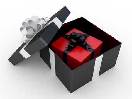 Schwarzen Geschenkbox mit weißer Schleife. 3D-Bild.