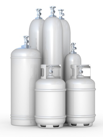gas cylinder: Cylinders with the compressed gases on a white background Stock Photo