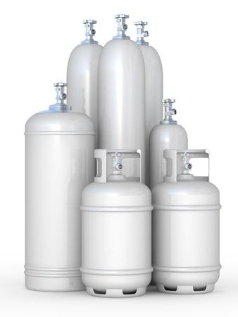 cilindro de gas: Los cilindros con los gases comprimidos en un fondo blanco