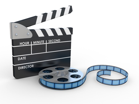 clapper board: 3d 35mm Film Strip and film maker  on a white background