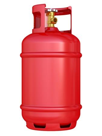 cilindro: globo rojo de gas aisladas sobre un fondo blanco