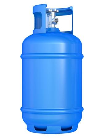 cilindro: globo de gas azul aislado en un fondo blanco Foto de archivo